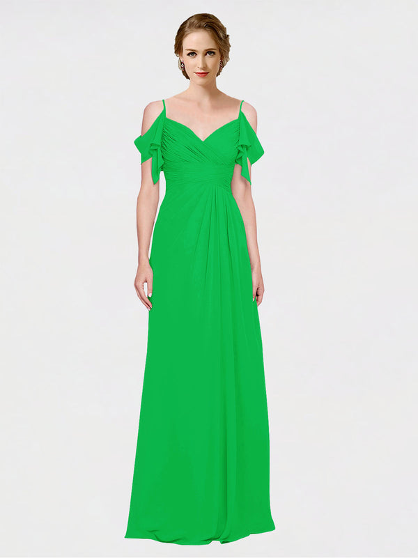 Mila Queen Joyce Bridesmaid Dress Green - A-Line Spaghetti Straps Sweetheart Off the Shoulder Long Bridesmaid Gown Joyce in Green