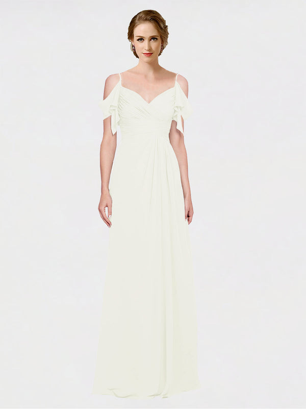 Mila Queen Joyce Bridesmaid Dress Ivory - A-Line Spaghetti Straps Sweetheart Off the Shoulder Long Bridesmaid Gown Joyce in Ivory