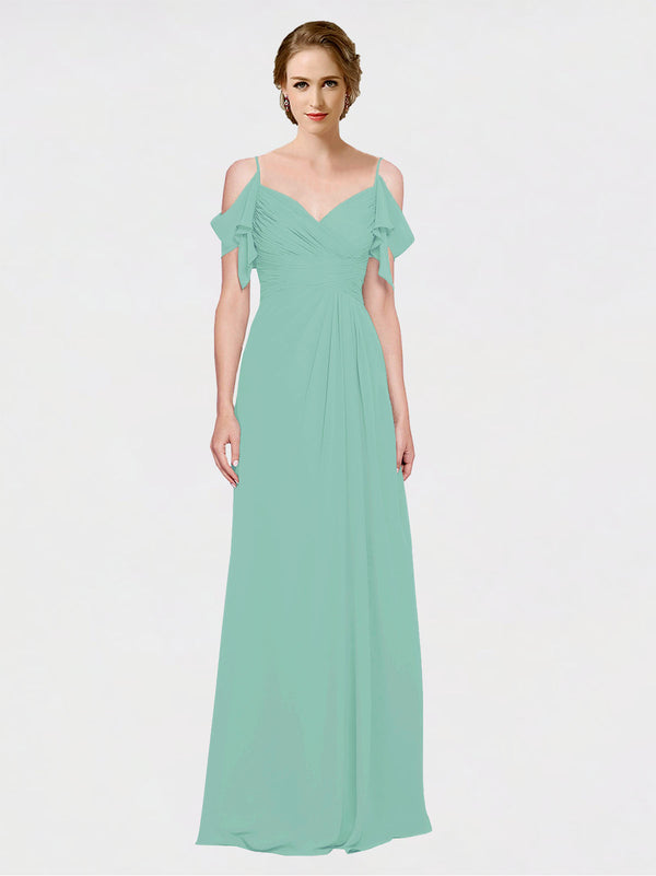Mila Queen Joyce Bridesmaid Dress Jade - A-Line Spaghetti Straps Sweetheart Off the Shoulder Long Bridesmaid Gown Joyce in Jade
