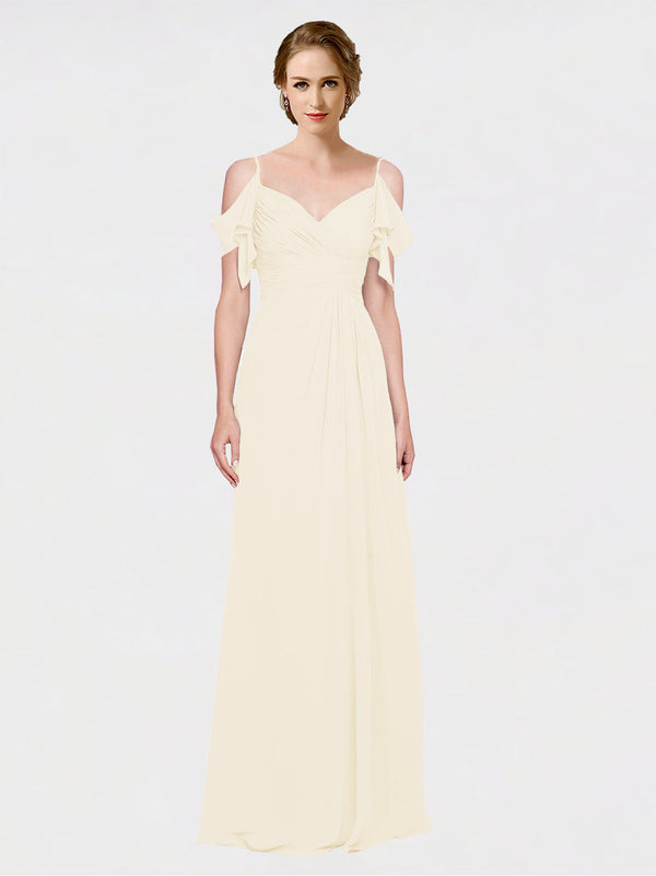 Mila Queen Joyce Bridesmaid Dress Light Champagne - A-Line Spaghetti Straps Sweetheart Off the Shoulder Long Bridesmaid Gown Joyce in Light Champagne