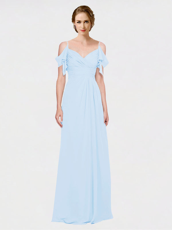 Mila Queen Joyce Bridesmaid Dress Light Sky Blue - A-Line Spaghetti Straps Sweetheart Off the Shoulder Long Bridesmaid Gown Joyce in Light Sky Blue