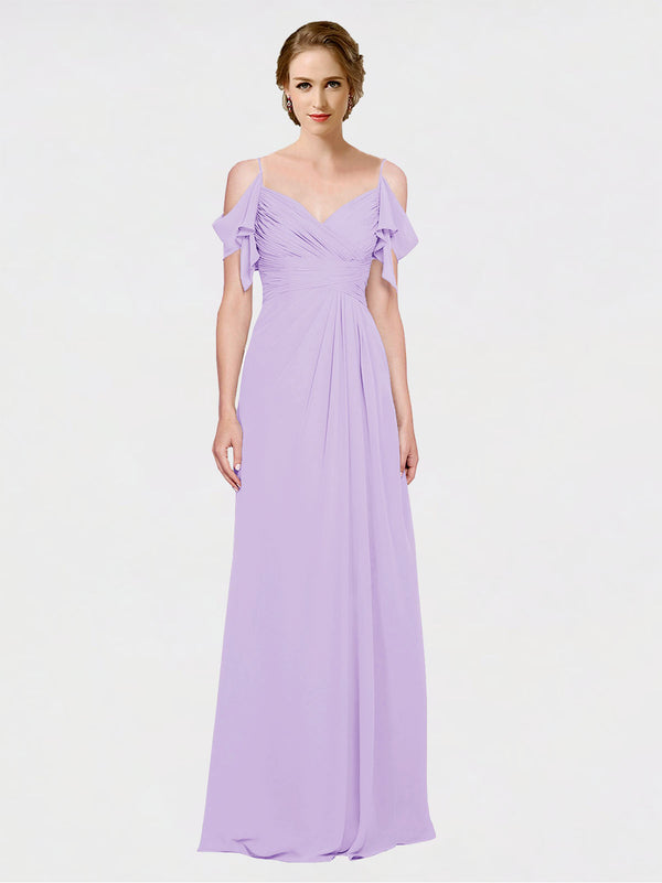 Mila Queen Joyce Bridesmaid Dress Lilac - A-Line Spaghetti Straps Sweetheart Off the Shoulder Long Bridesmaid Gown Joyce in Lilac