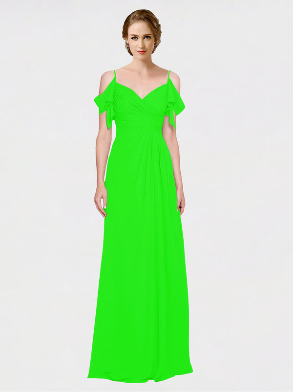 Mila Queen Joyce Bridesmaid Dress Lime Green - A-Line Spaghetti Straps Sweetheart Off the Shoulder Long Bridesmaid Gown Joyce in Lime Green