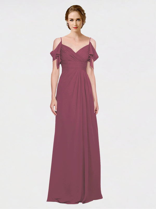 Mila Queen Joyce Bridesmaid Dress Mauve Taupe - A-Line Spaghetti Straps Sweetheart Off the Shoulder Long Bridesmaid Gown Joyce in Mauve Taupe
