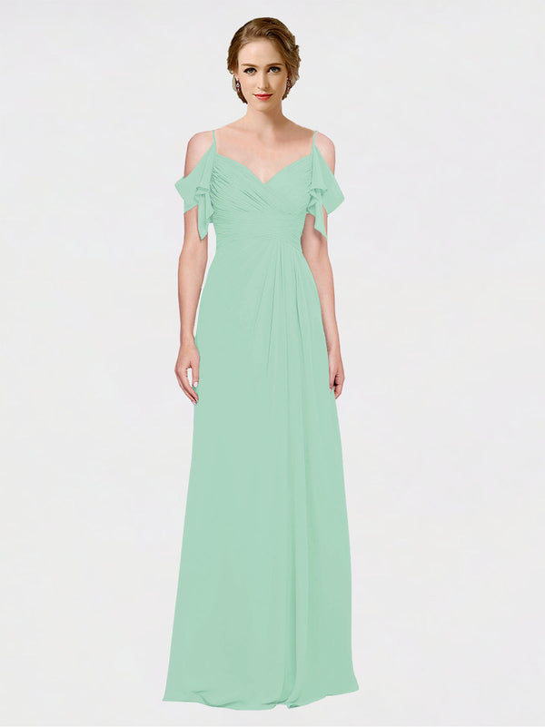 Mila Queen Joyce Bridesmaid Dress Mint Green - A-Line Spaghetti Straps Sweetheart Off the Shoulder Long Bridesmaid Gown Joyce in Mint Green