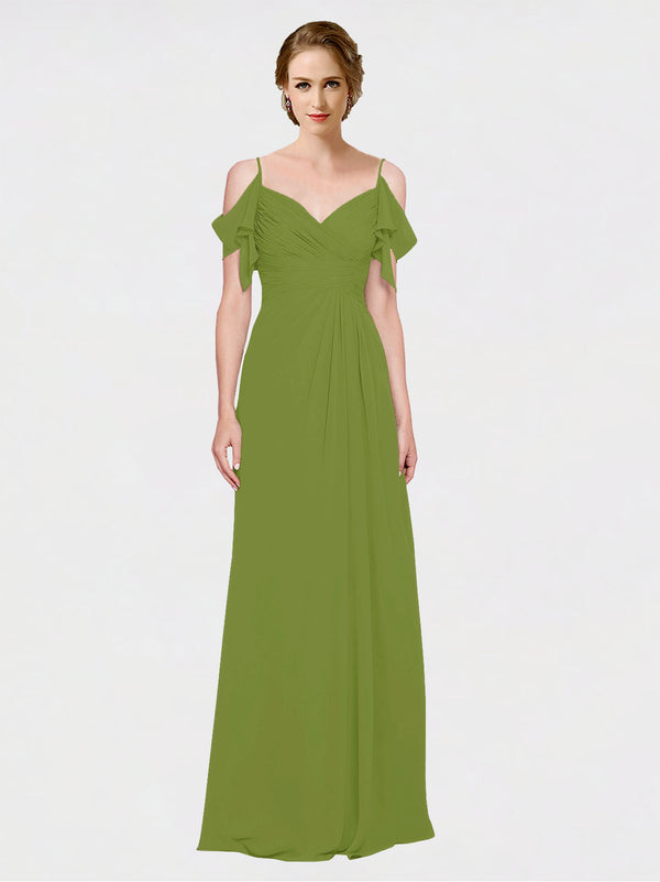 Mila Queen Joyce Bridesmaid Dress Olive Green - A-Line Spaghetti Straps Sweetheart Off the Shoulder Long Bridesmaid Gown Joyce in Olive Green