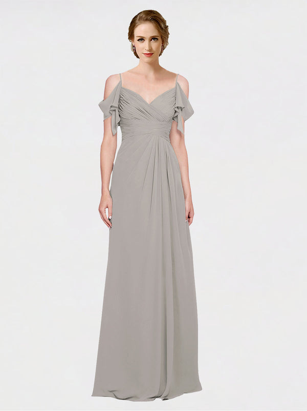 Mila Queen Joyce Bridesmaid Dress Oyster Silver - A-Line Spaghetti Straps Sweetheart Off the Shoulder Long Bridesmaid Gown Joyce in Oyster Silver