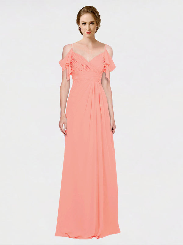 Mila Queen Joyce Bridesmaid Dress Peach - A-Line Spaghetti Straps Sweetheart Off the Shoulder Long Bridesmaid Gown Joyce in Peach