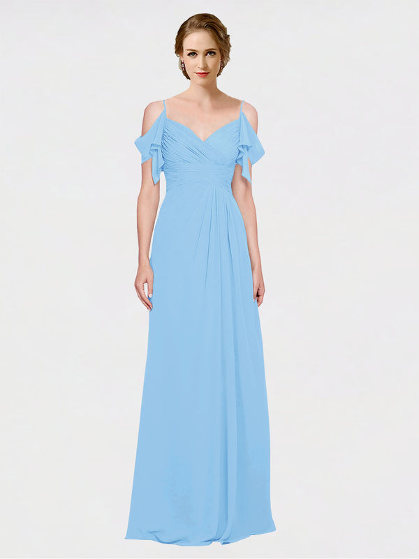 Mila Queen Joyce Bridesmaid Dress Periwinkle - A-Line Spaghetti Straps Sweetheart Off the Shoulder Long Bridesmaid Gown Joyce in Periwinkle