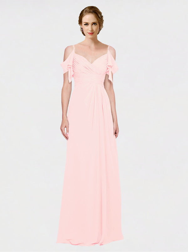 Mila Queen Joyce Bridesmaid Dress Pink - A-Line Spaghetti Straps Sweetheart Off the Shoulder Long Bridesmaid Gown Joyce in Pink
