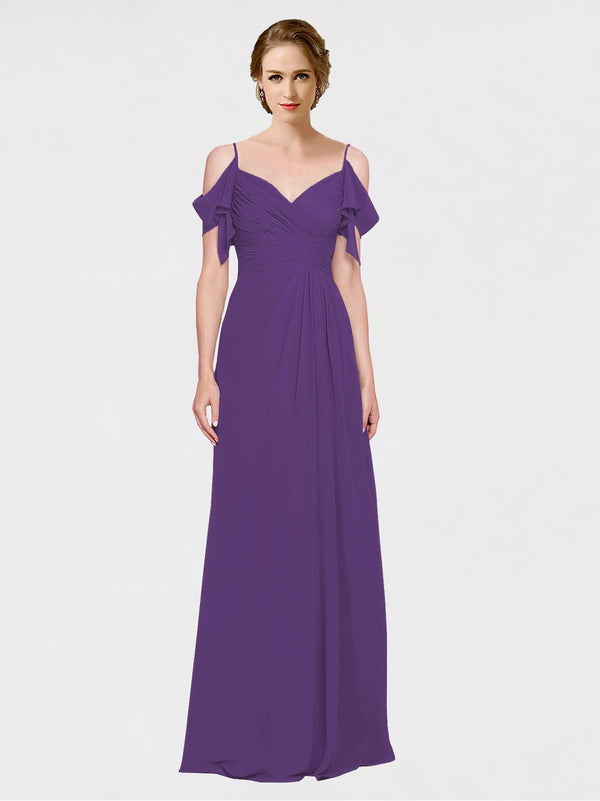 Mila Queen Joyce Bridesmaid Dress Plum Purple - A-Line Spaghetti Straps Sweetheart Off the Shoulder Long Bridesmaid Gown Joyce in Plum Purple