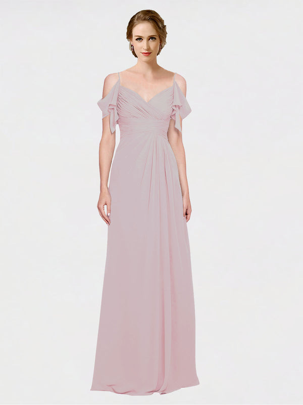 Mila Queen Joyce Bridesmaid Dress Primrose - A-Line Spaghetti Straps Sweetheart Off the Shoulder Long Bridesmaid Gown Joyce in Primrose