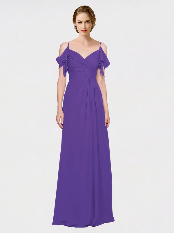 Mila Queen Joyce Bridesmaid Dress Purple - A-Line Spaghetti Straps Sweetheart Off the Shoulder Long Bridesmaid Gown Joyce in Purple