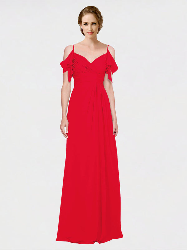 Mila Queen Joyce Bridesmaid Dress Red - A-Line Spaghetti Straps Sweetheart Off the Shoulder Long Bridesmaid Gown Joyce in Red