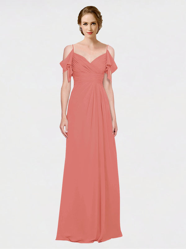 Mila Queen Joyce Bridesmaid Dress Rosewood - A-Line Spaghetti Straps Sweetheart Off the Shoulder Long Bridesmaid Gown Joyce in Rosewood