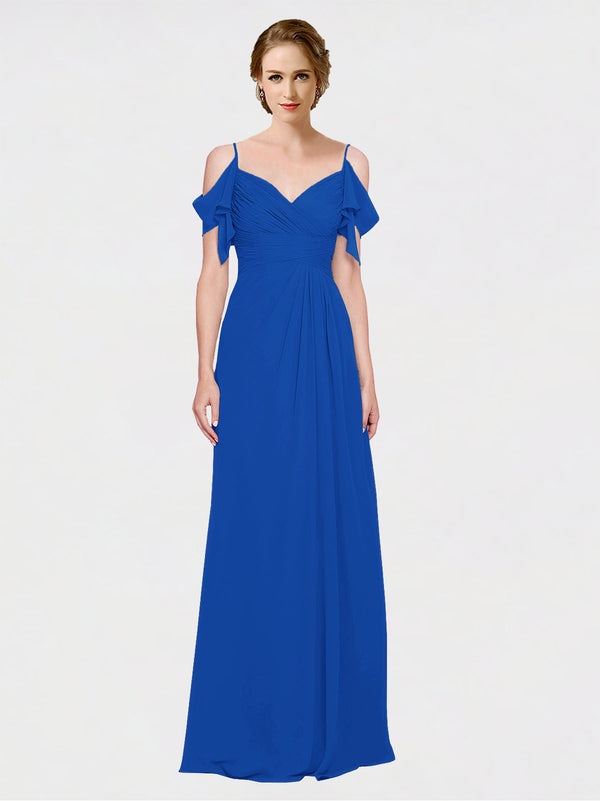Mila Queen Joyce Bridesmaid Dress Royal Blue - A-Line Spaghetti Straps Sweetheart Off the Shoulder Long Bridesmaid Gown Joyce in Royal Blue