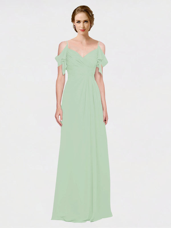 Mila Queen Joyce Bridesmaid Dress Sage - A-Line Spaghetti Straps Sweetheart Off the Shoulder Long Bridesmaid Gown Joyce in Sage