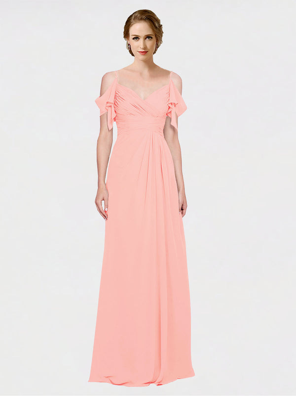Mila Queen Joyce Bridesmaid Dress Salmon - A-Line Spaghetti Straps Sweetheart Off the Shoulder Long Bridesmaid Gown Joyce in Salmon