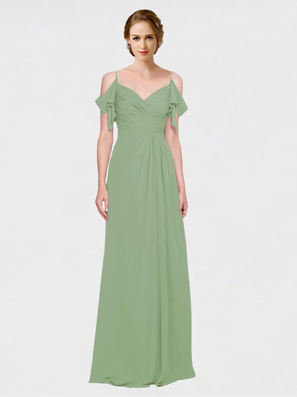 Mila Queen Joyce Bridesmaid Dress Seagrass - A-Line Spaghetti Straps Sweetheart Off the Shoulder Long Bridesmaid Gown Joyce in Seagrass