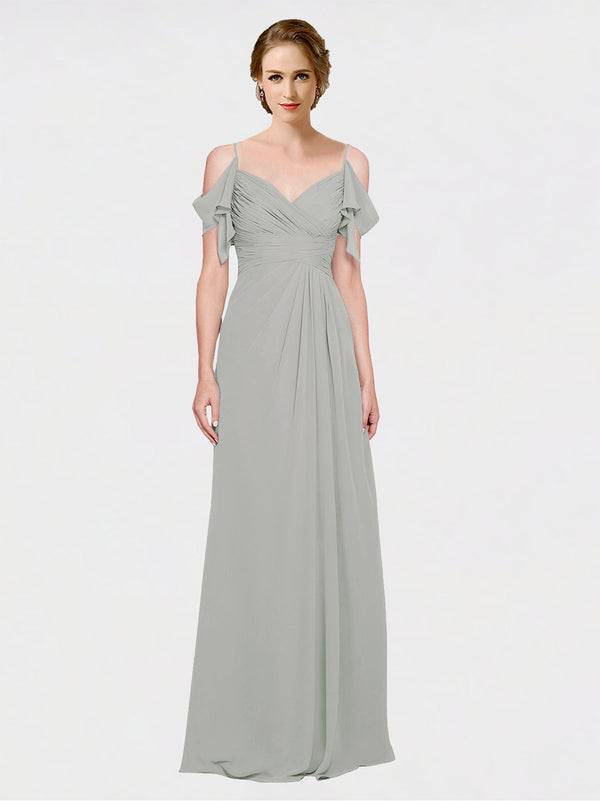 Mila Queen Joyce Bridesmaid Dress Silver - A-Line Spaghetti Straps Sweetheart Off the Shoulder Long Bridesmaid Gown Joyce in Silver