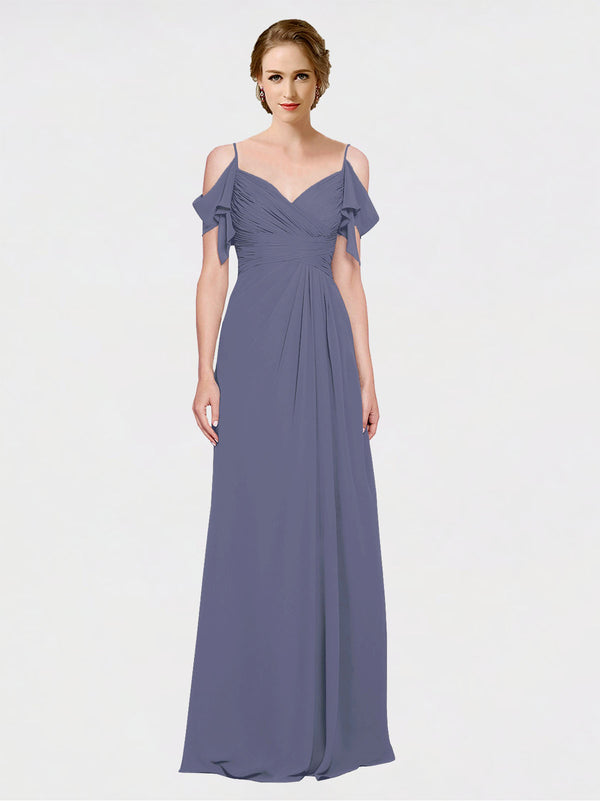 Mila Queen Joyce Bridesmaid Dress Silver Stone - A-Line Spaghetti Straps Sweetheart Off the Shoulder Long Bridesmaid Gown Joyce in Silver Stone