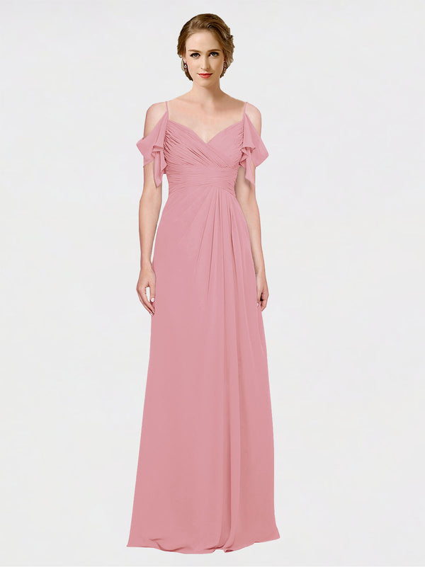 Mila Queen Joyce Bridesmaid Dress Skin Pink - A-Line Spaghetti Straps Sweetheart Off the Shoulder Long Bridesmaid Gown Joyce in Skin Pink