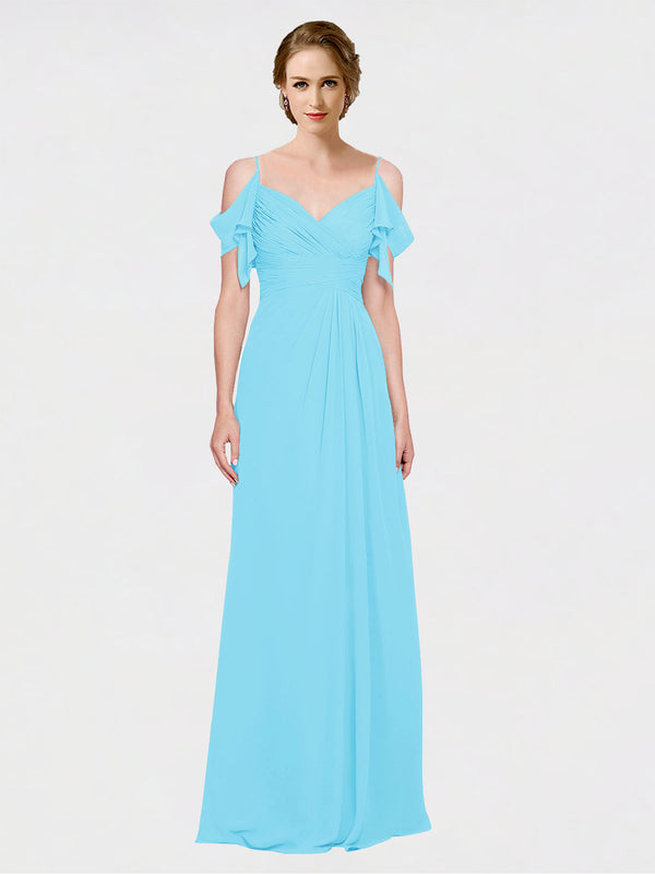 Mila Queen Joyce Bridesmaid Dress Sky Blue - A-Line Spaghetti Straps Sweetheart Off the Shoulder Long Bridesmaid Gown Joyce in Sky Blue