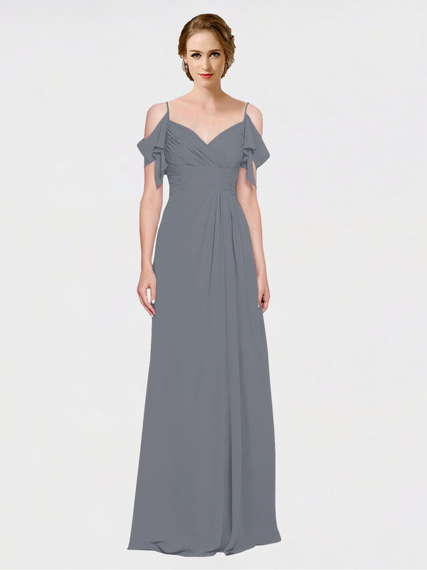 Mila Queen Joyce Bridesmaid Dress Slate Grey - A-Line Spaghetti Straps Sweetheart Off the Shoulder Long Bridesmaid Gown Joyce in Slate Grey