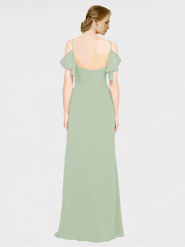 Mila Queen Joyce Bridesmaid Dress in Smoke Green - A-Line Spaghetti Straps Sweetheart Off the Shoulder Long Bridesmaid Gown Joyce in Smoke Green