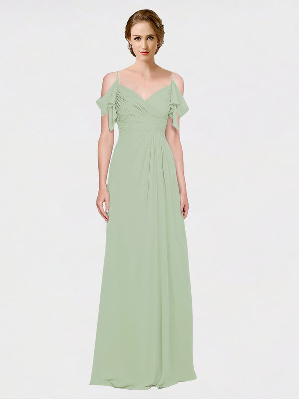 Mila Queen Joyce Bridesmaid Dress Smoke Green - A-Line Spaghetti Straps Sweetheart Off the Shoulder Long Bridesmaid Gown Joyce in Smoke Green