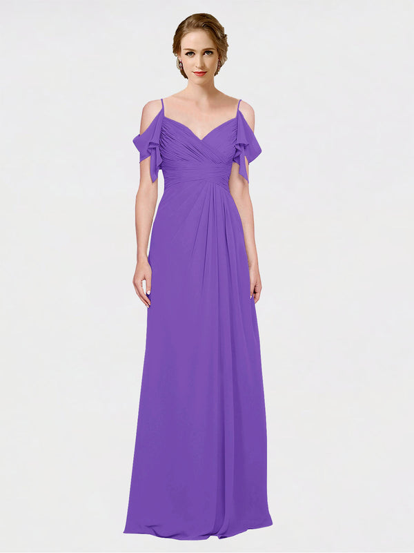 Mila Queen Joyce Bridesmaid Dress Tahiti - A-Line Spaghetti Straps Sweetheart Off the Shoulder Long Bridesmaid Gown Joyce in Tahiti