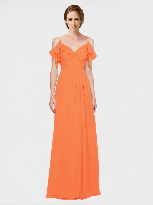Mila Queen Joyce Bridesmaid Dress Tangerine Tango - A-Line Spaghetti Straps Sweetheart Off the Shoulder Long Bridesmaid Gown Joyce in Tangerine Tango