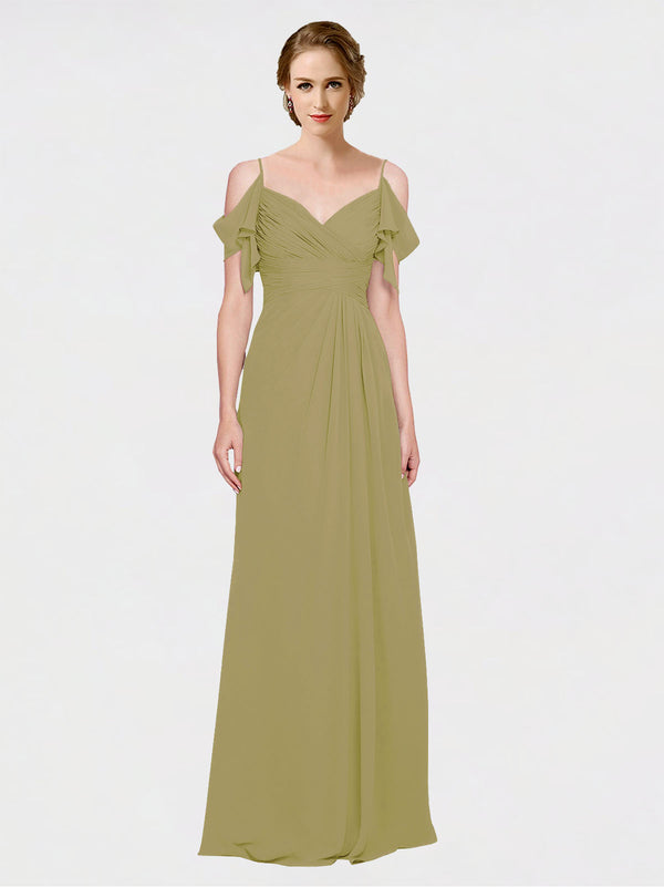 Mila Queen Joyce Bridesmaid Dress Topaz - A-Line Spaghetti Straps Sweetheart Off the Shoulder Long Bridesmaid Gown Joyce in Topaz