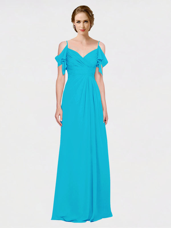 Mila Queen Joyce Bridesmaid Dress Turquoise - A-Line Spaghetti Straps Sweetheart Off the Shoulder Long Bridesmaid Gown Joyce in Turquoise