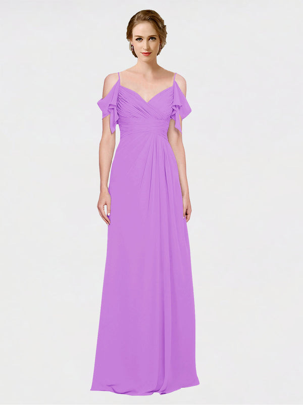Mila Queen Joyce Bridesmaid Dress Violet - A-Line Spaghetti Straps Sweetheart Off the Shoulder Long Bridesmaid Gown Joyce in Violet
