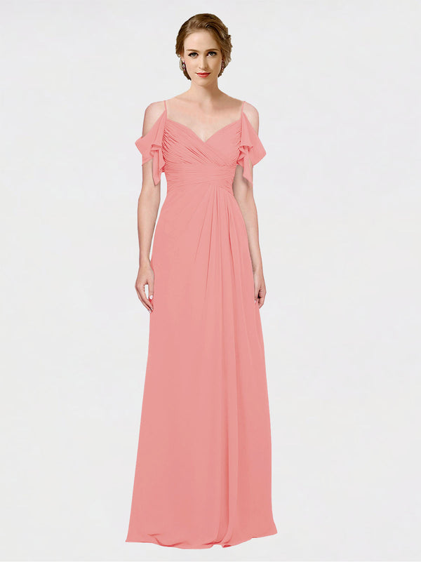 Mila Queen Joyce Bridesmaid Dress Watermelon - A-Line Spaghetti Straps Sweetheart Off the Shoulder Long Bridesmaid Gown Joyce in Watermelon