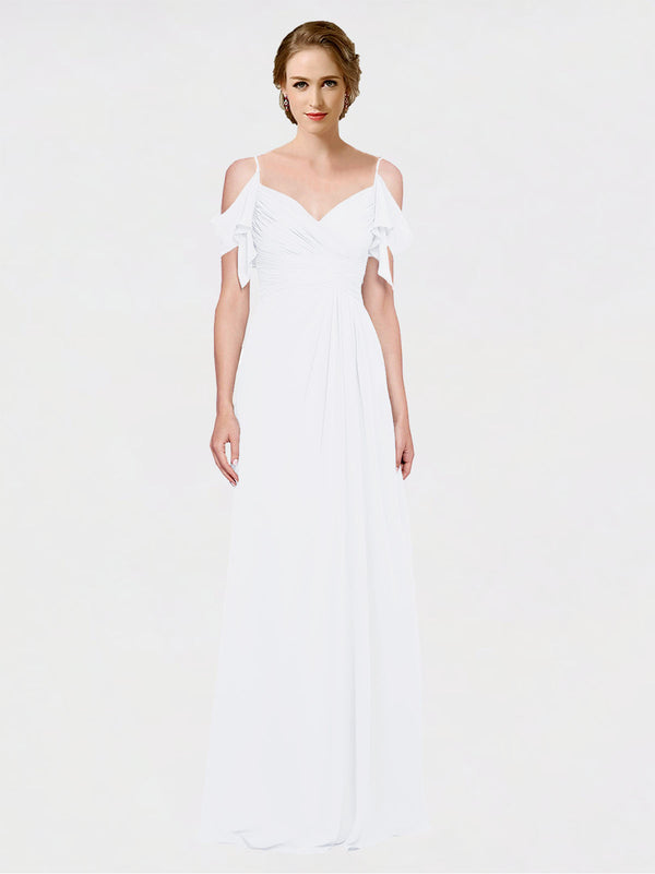 Mila Queen Joyce Bridesmaid Dress White - A-Line Spaghetti Straps Sweetheart Off the Shoulder Long Bridesmaid Gown Joyce in White