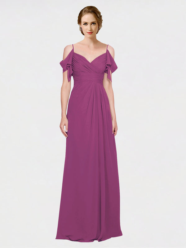 Mila Queen Joyce Bridesmaid Dress Wild Berry - A-Line Spaghetti Straps Sweetheart Off the Shoulder Long Bridesmaid Gown Joyce in Wild Berry