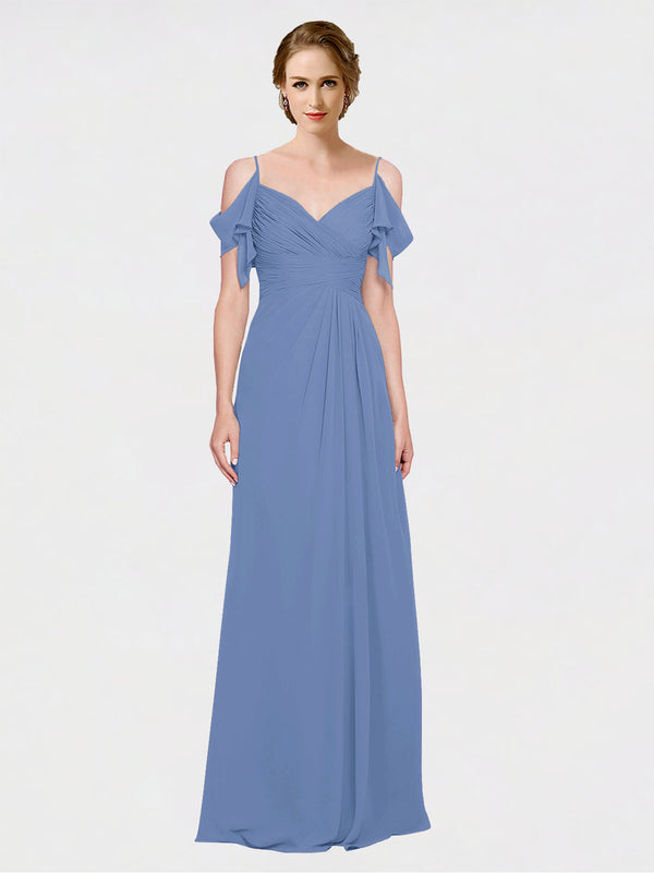 Mila Queen Joyce Bridesmaid Dress Windsor Blue - A-Line Spaghetti Straps Sweetheart Off the Shoulder Long Bridesmaid Gown Joyce in Windsor Blue
