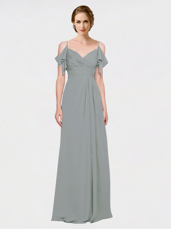 Mila Queen Joyce Bridesmaid Dress Wisteria - A-Line Spaghetti Straps Sweetheart Off the Shoulder Long Bridesmaid Gown Joyce in Wisteria