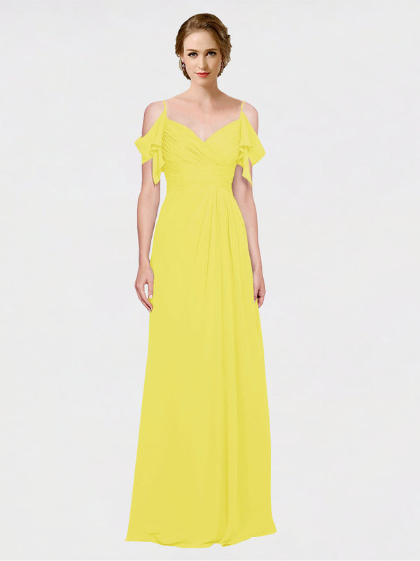 Mila Queen Joyce Bridesmaid Dress Yellow - A-Line Spaghetti Straps Sweetheart Off the Shoulder Long Bridesmaid Gown Joyce in Yellow