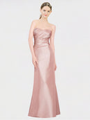 A-Line Strapless Sweetheart Floor Length Sleeveless Stretch Satin Long Bridesmaid Dress Whitney