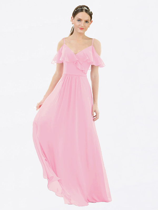Mila Queen Aubrielle Bridesmaid Dress Barely Pink - A-Line V-Neck Bridesmaid Gown Aubrielle in Barely Pink