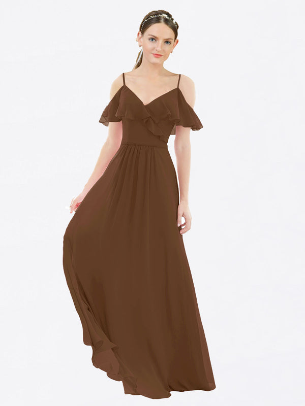 Mila Queen Aubrielle Bridesmaid Dress Brown - A-Line V-Neck Bridesmaid Gown Aubrielle in Brown
