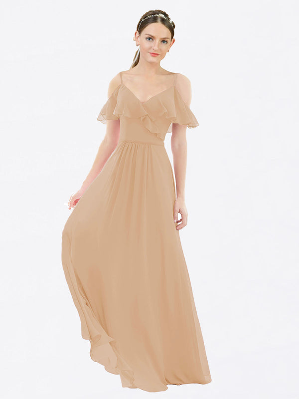 Mila Queen Aubrielle Bridesmaid Dress Champagne - A-Line V-Neck Bridesmaid Gown Aubrielle in Champagne