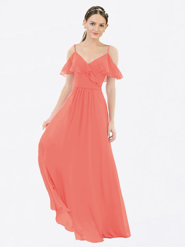 Mila Queen Aubrielle Bridesmaid Dress Coral - A-Line V-Neck Bridesmaid Gown Aubrielle in Coral