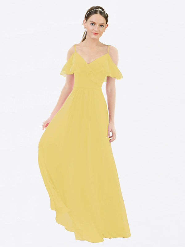 Mila Queen Aubrielle Bridesmaid Dress Daffodil - A-Line V-Neck Bridesmaid Gown Aubrielle in Daffodil