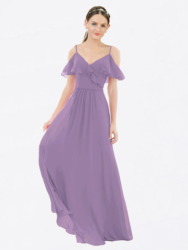 Mila Queen Aubrielle Bridesmaid Dress Dark Lavender - A-Line V-Neck Bridesmaid Gown Aubrielle in Dark Lavender
