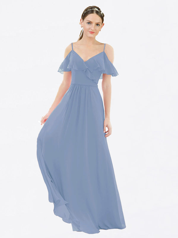 Mila Queen Aubrielle Bridesmaid Dress Dusty Blue - A-Line V-Neck Long Bridesmaid Gown Aubrielle in Dusty Blue