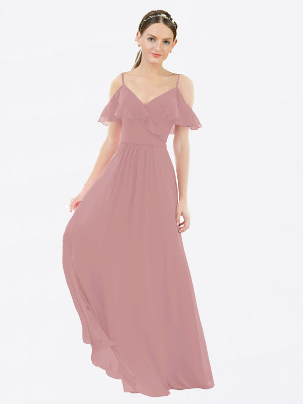Mila Queen Aubrielle Bridesmaid Dress Dusty Pink - A-Line V-Neck Bridesmaid Gown Aubrielle in Dusty Pink